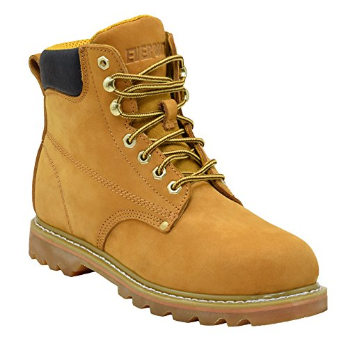 Ever Boots ''Tank'' Men's Soft Toe Oil Full Grain Leather Insulated Work Boots Construction Rubber Sole (9.5 D(M), TAN) by EVER BOOTS