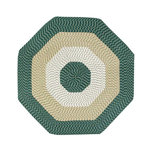 Green Octagon Rug 6Ft, Beige Braid Mat for Hallway Geometric Carpet to Be Used in Living Room, Polypropylene