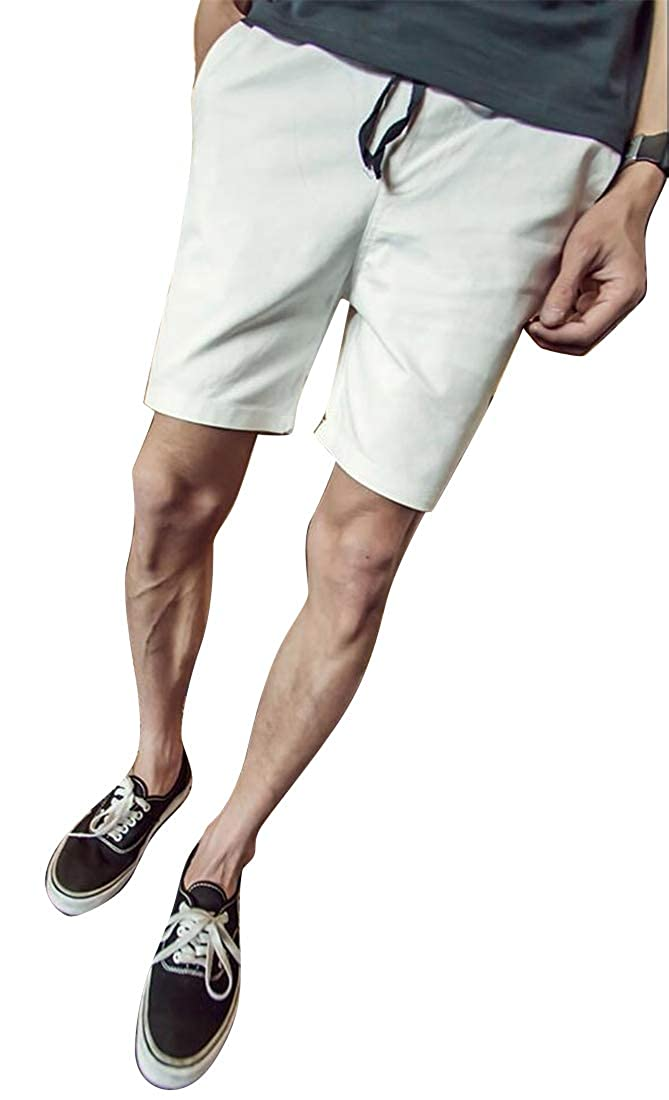 Mstyle Mens Solid Plus Size Cotton Casual Summer Active Beach Shorts Boardshort Swim Trunk