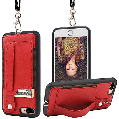 TOOVREN iPhone 7 Plus Wallet Case, iPhone 8 Plus Wallet Case, Necklace Lanyard Case with Kickstand Card Holder and Ajust Detachable Anti-Lost Lanyard Strap Perfect for Daily use, Work, Outdoors - Designer Clip Necklace