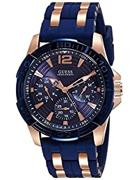 Guess W0366G4 44mm Stainless Steel Case Blue Silicone Mineral Men's Watch