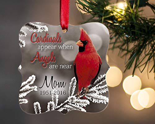 Personalized In Memory of Christmas Ornament, Loss of Loved One, Sympathy Gift for Memorial (Cardinal-Square) -