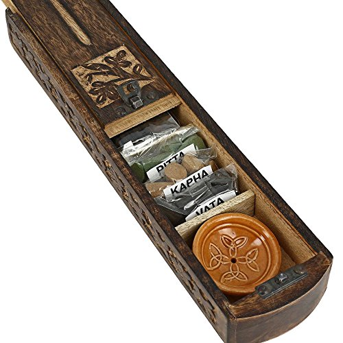 Handmade Indian Wooden Incense Burner and Storage Box with Ayurveda Vata Pitta Kapha Dhoop Incense Sticks & Ceramic Holder - Great Gift for Any Occasion