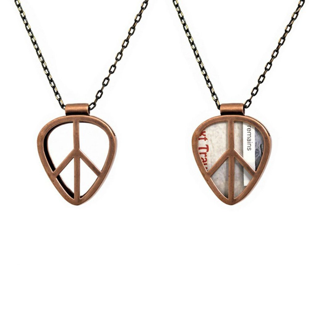 [PICKRING] Guitar Pick Holder Pendant Necklace Jazz Size (Peace/Black) Nyeokjak