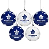 NHL Toronto Maple Leafs Shatterproof Ball Ornament (Pack of 5), Blue