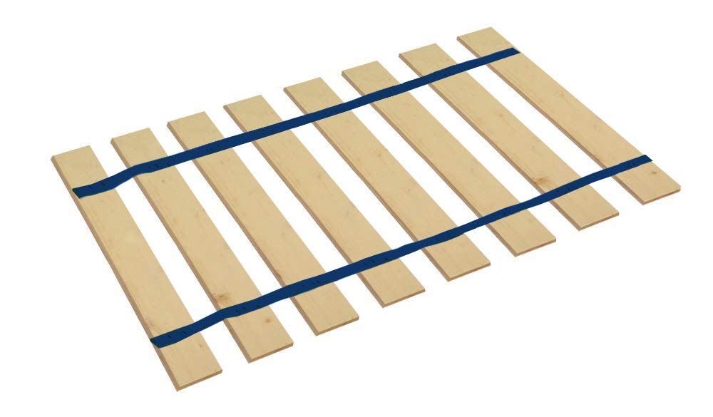 The Furniture Cove Twin Size Attached Bed Slats - Bunkie Boards (Dark Blue Straps)