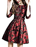 DanMunier Women's Half Sleeve Floral Contrast Bow Cocktail Evening Party Dress #7989 (M, Red)