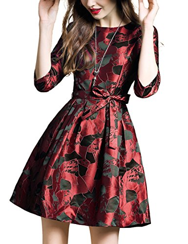 Teen Red M&m Party Dress (DanMunier Women's Half Sleeve Floral Contrast Bow Cocktail Evening Party Dress #7989 (M, Red))
