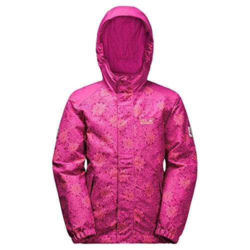 Jack Wolfskin Girls Kajak Falls Printed Jacket, Fuchsia Allover, Size 152 (11-12 (Gore Waterproof Oxfords)
