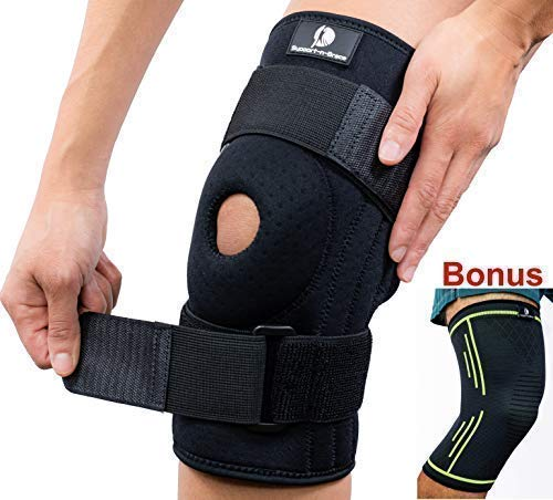 Support-n-Brace Large Knee Brace + Bonus Compression Knee Sleeve Pads for Men & Women - Wrap Either Knee Pain - Meniscus Tear- Arthritis - ACL/PCL Injuries, Sports Protector & stabilizer (Best Knee Brace For Hyperextension)