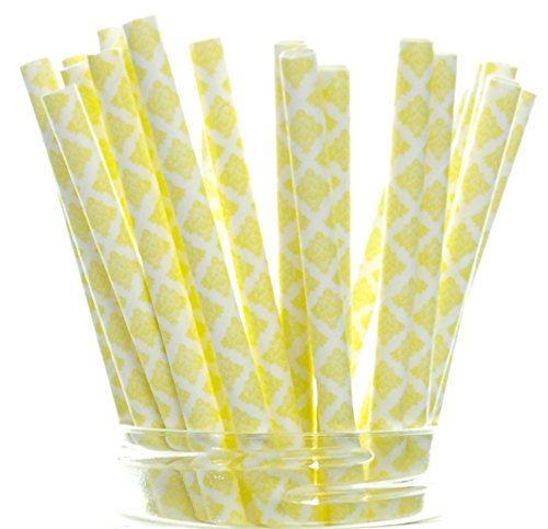 Martini Bridal Shower (Yellow Floral Damask Straws (25 Pack) - Swirl Flower Paper Straws, Victorian Damask Party Straw Supplies, Vintage Wedding)