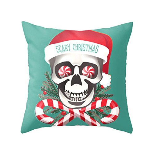 Vintage Halloween Decorations For Sale (Hot Sale! Pillowcase,Canserin Christmas Cartoon Skull Print Linen Sofa Bed Home Decoration Festival Pillow Case Cushion Cover)