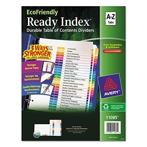 - Avery EcoFriendly Ready Index Table of Contents Dividers, A-Z Tab Set (11085)