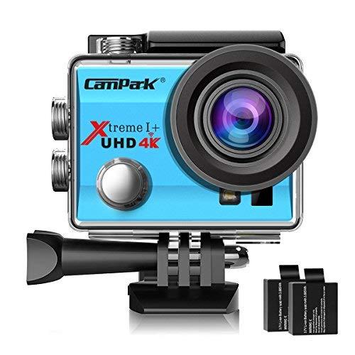 Campark ACT74 Action Camera 4K WiFi Waterproof Sports Camera 170 Degree Ultra Wide Angle Lens with 2 Pcs Rechargeable Batteries and Helmet Accessories Kits(Blue) by Campark