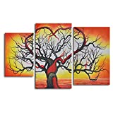 TJie Art Hand Painted Mordern Oil Paintings The Love of Trees 3-Piece Oil Painted Wall Art Set Modern artwork in black/ red/ orange/ yellow,Entirely hand-painted by one talented artist,Gallery stretched over inch-thick wooden frames
