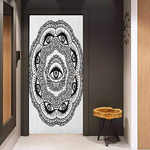 Door Sticker Mural Occult Print in Abstract Floral Crown of Leaves Sticks with Eye of Providence Boho Symbol WallStickers W38.5 x H77 Black White