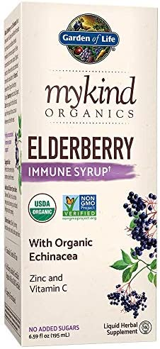 Garden of Life mykind Organics Plant Based Elderberry Immune Syrup 6.59 fl oz 195 mL for Kids Adults – Sambucus, Echinacea, Zinc Vitamin C, 0g Sugar, Organic Vegan Gluten Free Herbal Supplement