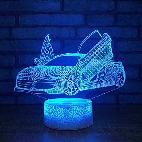 (ZBHW Optical Illusion 3D Sports Car Night Light 7 Colors Changing USB Power Touch Switch Decor Lamp LED Table Desk Lamp Brithday Children Kids Christmas Xmas Gift)