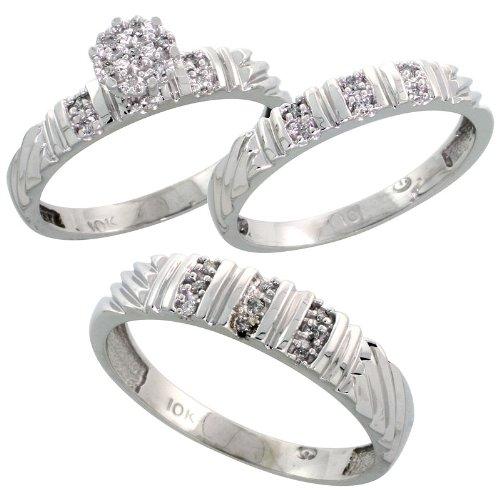 9 ct oro blanco diamante TRIO Juego de anillos de compromiso de boda para él y