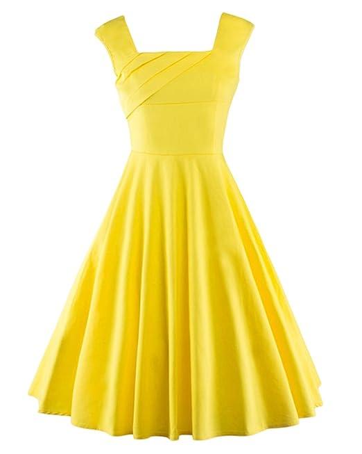 Moollyfox Mujer 50s Vestidos sin Manga Vintage Rockabilly Clásico Coctel Vestido Amarillo S