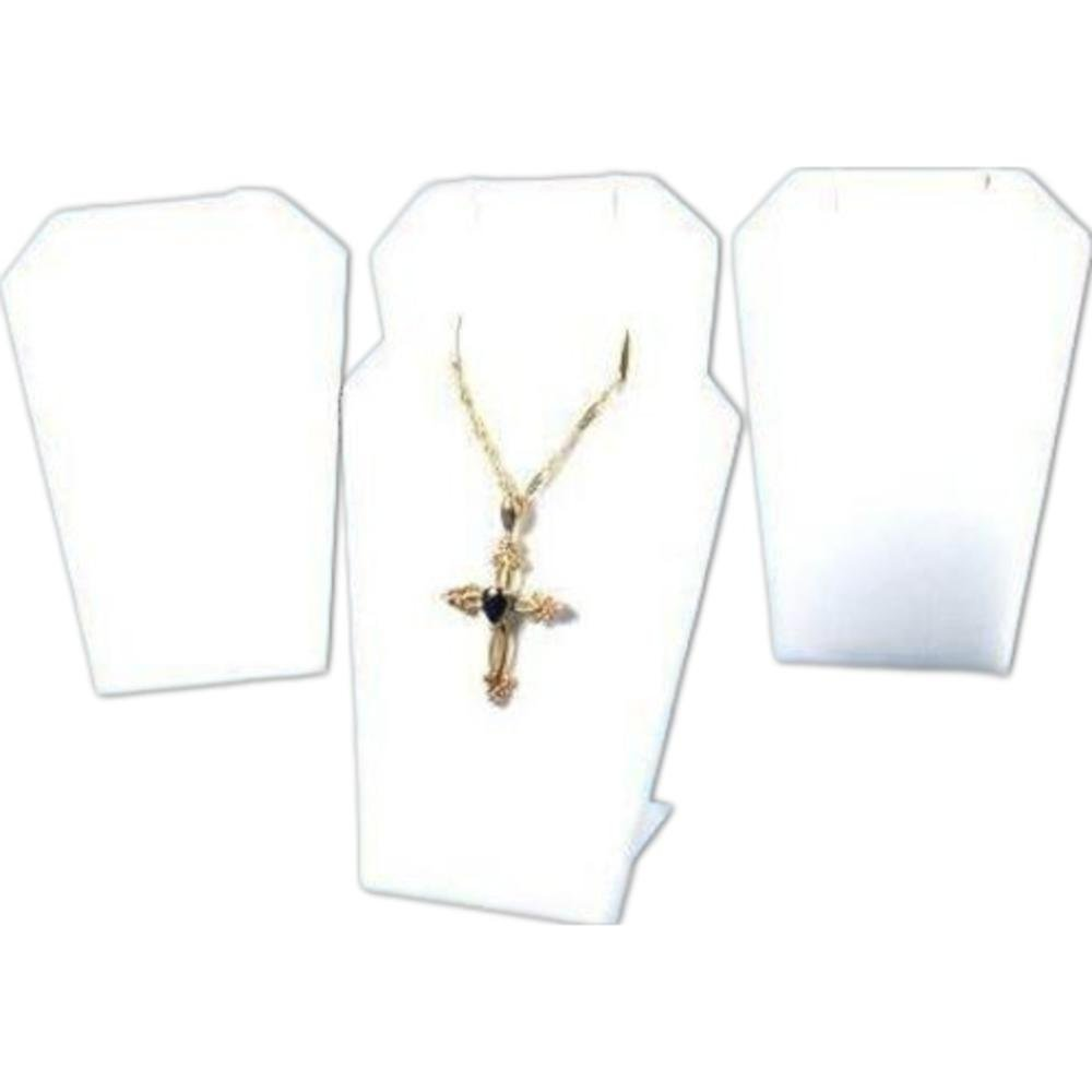 4 Necklace Pendant Chain Displays White Leather Stand 214-3LW (4)