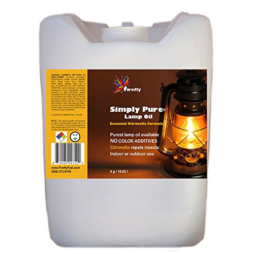 Bulk Citronella Lamp Oil by Firefly - 5 Gallons - Odorless Base & Smokeless- Ultra Clean Burning Paraffin Oil with Citronella Oil by Firefly
