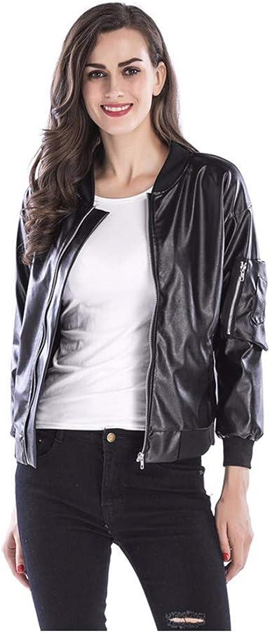 Pwtchenty Chaqueta Sudadera Capa Top Blusa con Capucha Camisa De Manga Larga Cremallera Cuero Cuello Alto Abrigo Negro SeñOras: Amazon.es: Ropa y accesorios