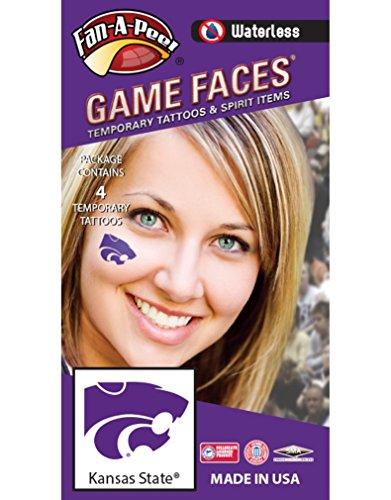 Wildcats Tattoo - Kansas State University (KSU) Wildcats - Waterless Peel & Stick Temporary Spirit Tattoos - 4-Piece - Purple Willie Cat Head Logo