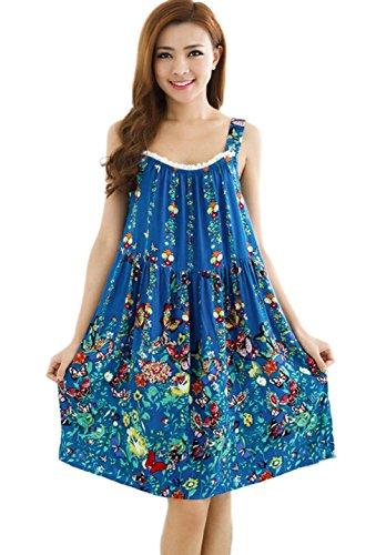 Womens Cotton Sleeveless Pattern Nightgown