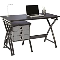 Brenton Studio X-Cross Desk And File Set, 29 1/2H x 47 5/8W x 22D, Black