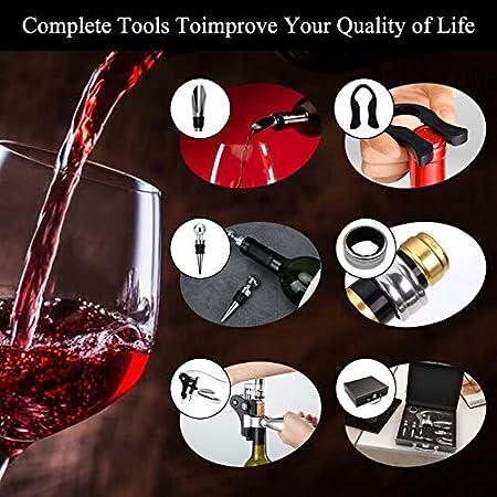 Surmounty Juego de accesorios para vino, 10 unidades, incluye sacacorchos, cortador de láminas, vertedor, anillos antigoteo, tapones de vino, tornillo de repuesto, caja de regalo para amantes del vino