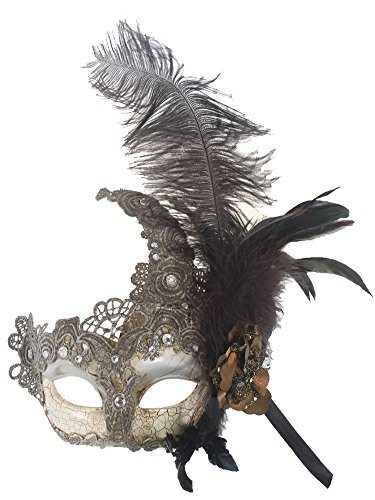 RedSkyTrader Womens Venetian Mask - Feathers and Lace One Size Fits Most -