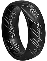 8mm Black Lord Of The Rings Tungsten Carbide Comfort Fit Size 4 To 16