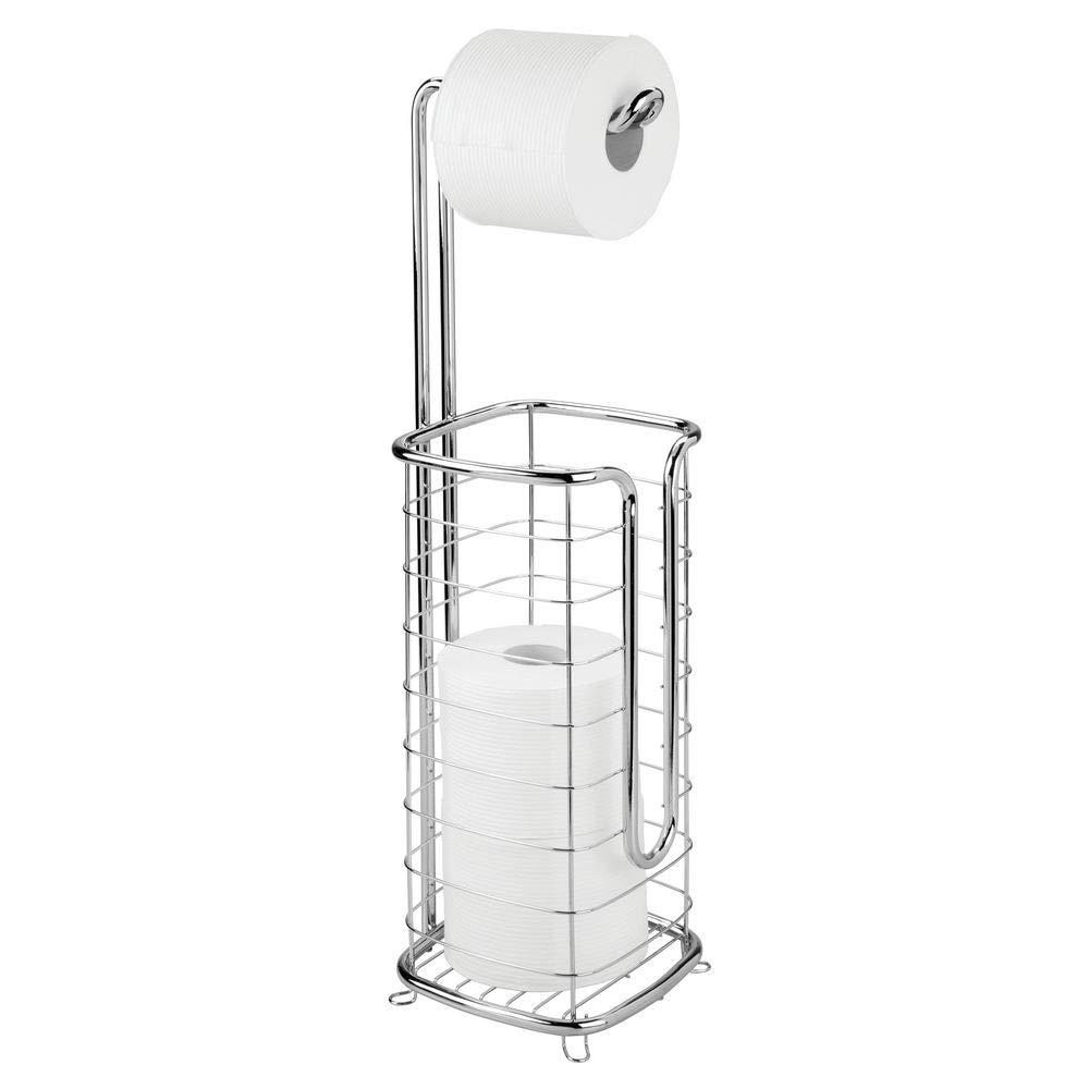 Elegante piantana bagno per carta igienica Pratico portarotolo carta igienica mDesign Porta carta igienica da terra argento