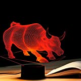 Tons 3D Lamp Illusion Animals Shape Acrylic Table Night Light for Boys cool Birthday Gift Colorful 7 Colors With USB Touch (Bull)