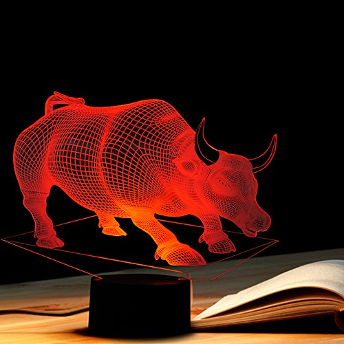 Tons 3D Lamp Illusion Animals Shape Acrylic Table Night Light for Boys cool Birthday Gift Colorful 7 Colors With USB Touch (Bull) by Tons