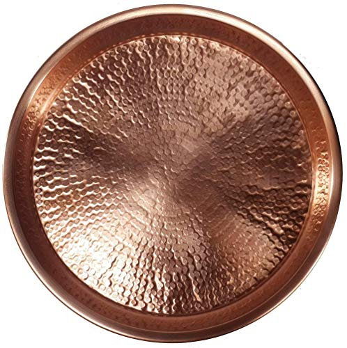 Egypt gift shops Traditional Shiny Pure Natural Copper Bird Bath Birdbath Rolled Rim Bowl Party Display Candy Tea Cocktail Drinks Serving Tray Kitchen Wedding Anniversary Plate Display Coaster ()