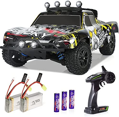RC Cars, 1/18 Scale High-Speed Remote Car for Adults Kids, 40+ kmh 4WD 2.4GHz Off-Road Monster RC Truck,All Terrain Electric Vehicle Toy Boy Gift with 2 Batteries for 40+ Min Play