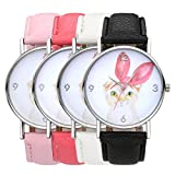 Top Plaza Children's Kid's Casual Cute Cartoon Style Lovely Big Pink Ear Cat Dial PU Leather Band Analog Quartz Watch 30M Waterproof