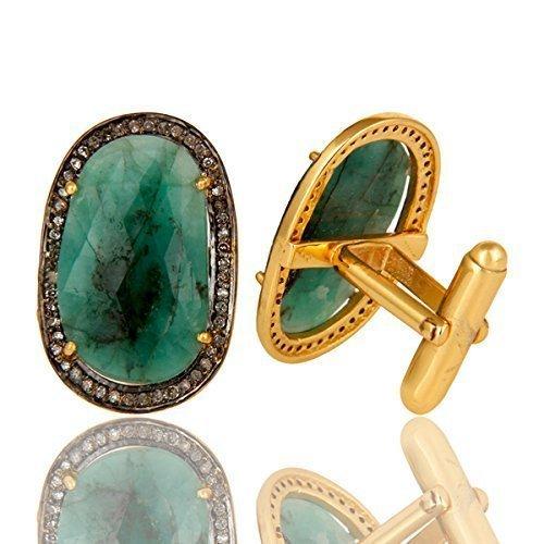 Emerald Cufflinks (Emerald Gemstone Cuff links, Pave Diamond Sterling Silver Gemstone Jewelry, 14k Gold Gemstone Diamond Cufflinks)