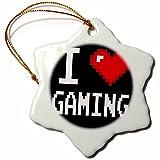 3dRose orn_118894_1 Geeky Old School Pixelated Pixels 8-Bit I Heart I Love Gaming Snowflake Ornament, Porcelain, 3-Inch