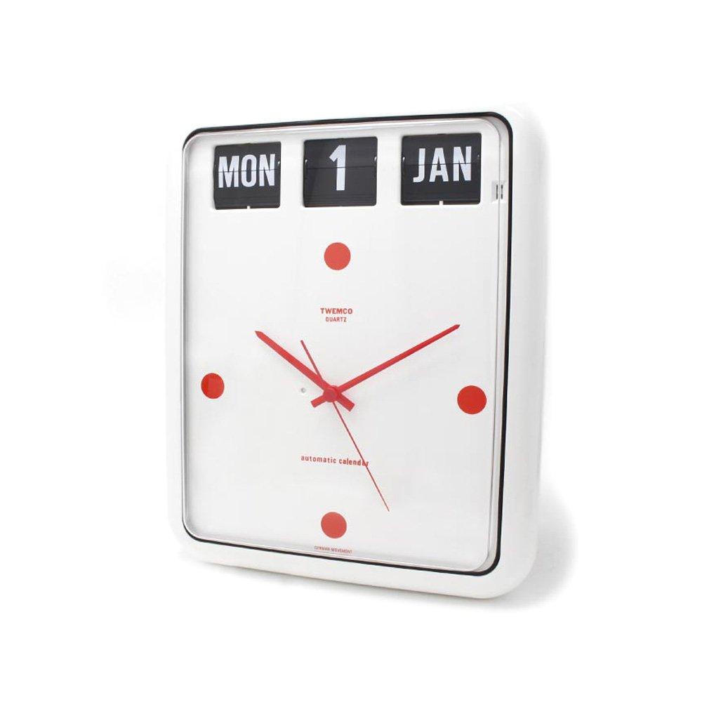 トゥエンコ 置時計インテリア TWEMCO 時計 オシャレ クロック BQ-12 WHITE RED B01KWHQ720