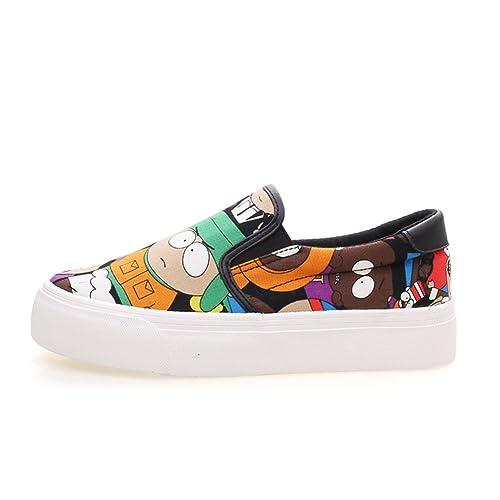 Estudiante lona suela gruesa/Zapatos de mujer/Mocasín/Zapatos graffiti pintados a mano