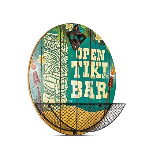 Open Tiki Bar Bottle Opener Cap Catcher Wall Decor