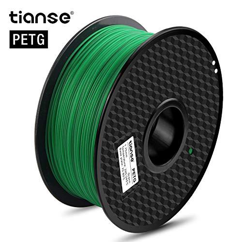 TIANSE Green PETG 3D Printer Filament 1.75mm 1KG Spool Filament for 3D Printing, Dimensional Accuracy +/- 0.03 mm