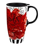 17 oz. Magnificent Floral Boxed Ceramic Latte Travel Cup
