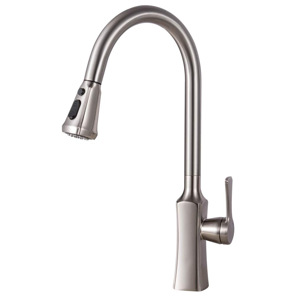 Gagal Single-Handle Arc Brushed Nickel Pull-out Kitchen Faucet, Pull-Down Kitchen Faucets with Sprayer
