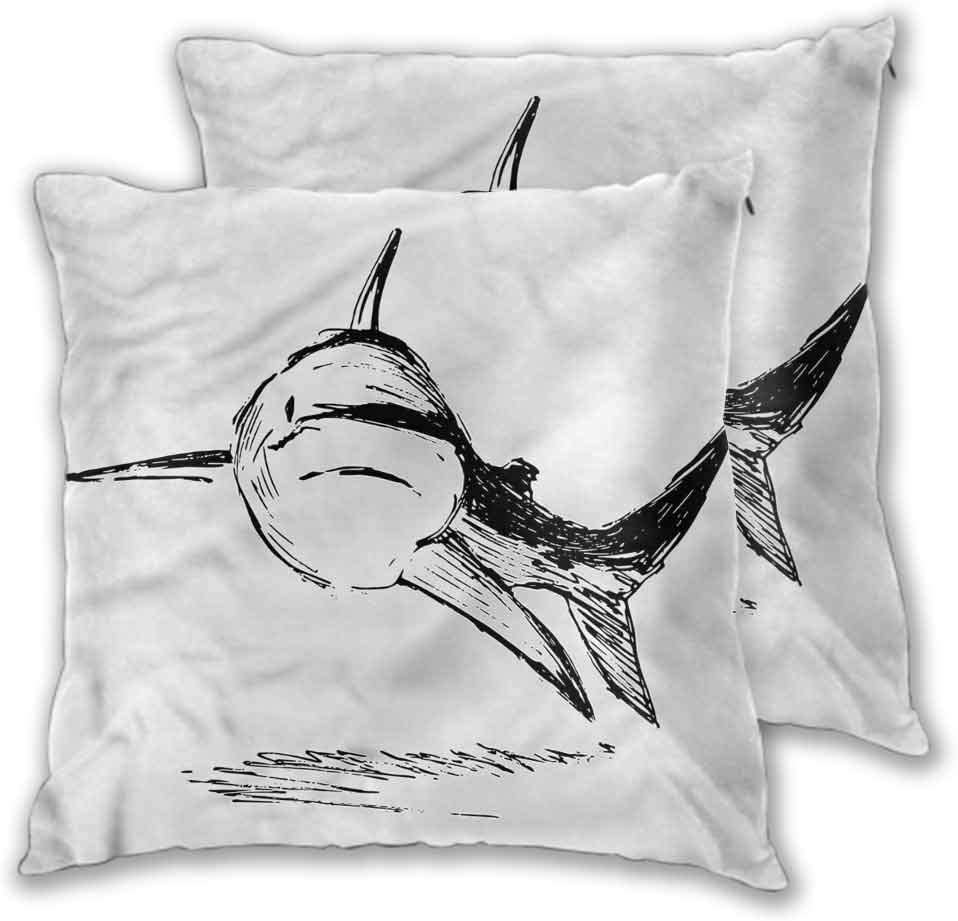 Mannwarehouse Shark Throw Pillow Covers Cases, Doodle Art of Tropic Mammal Durable Decorative Bedding Gift Double-Sided Printing Cushion Cover for Couch Bench 2PCS - W20 x L20 inch