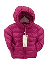 Kisstyle Child Cute Pure Color Hooded Zip Warm Coat Rose