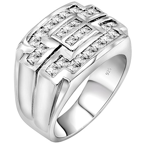 Men's Sterling Silver .925 Ring with Channel Set Square Cubic Zirconia Sizes: 6 7 8 9 10 11 12 22 (Cz Rings That Look Real)